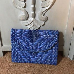 Handbags - Deep Cobalt Blue Woven Straw Clutch